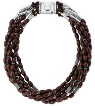Michael Kors 'Safari Glam' Torsade Necklace Ebony/ Silver MKJ1586 BNWT $350 - $175.75