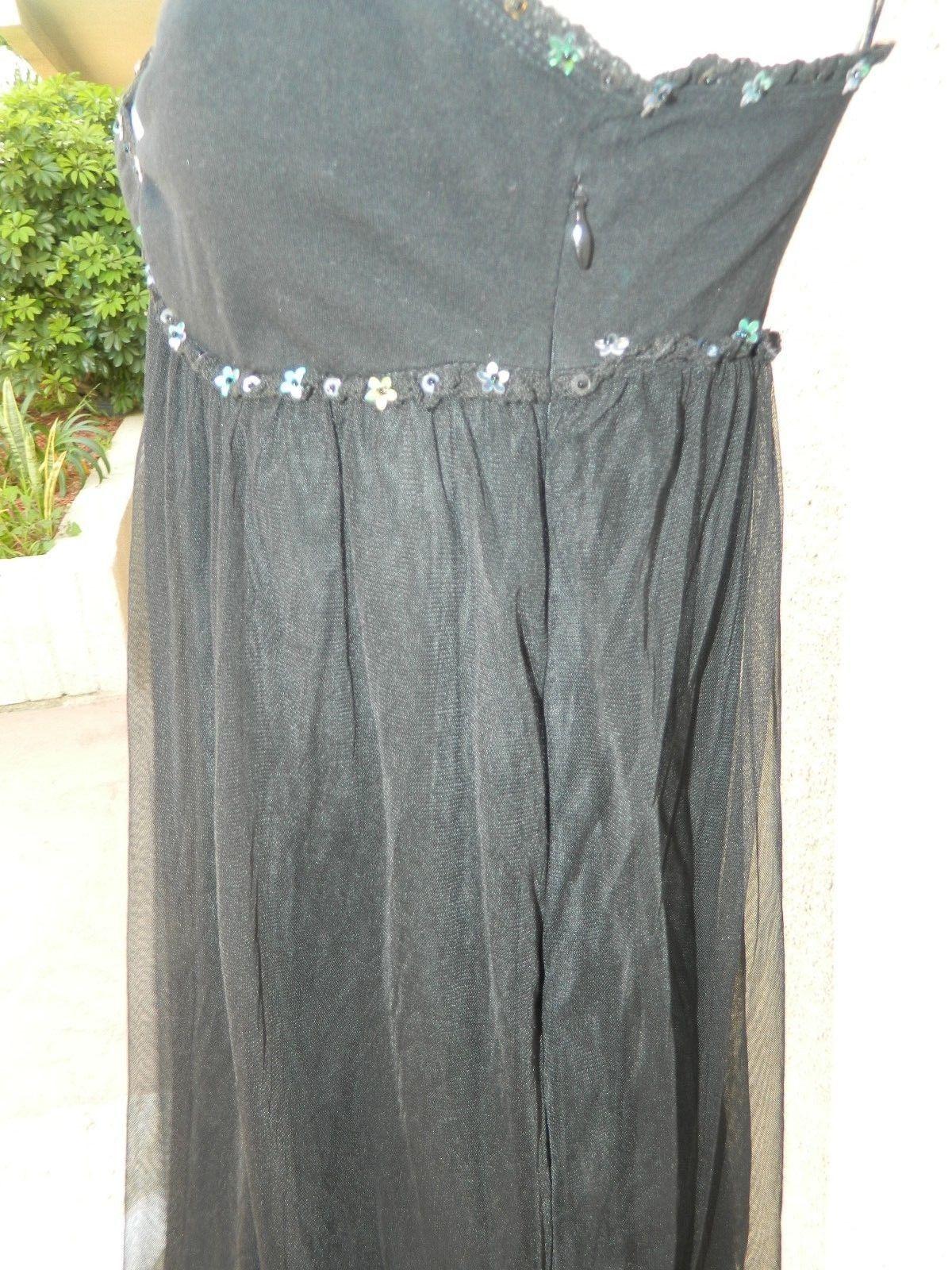 FREE PEOPLE INITIMATELY  DRESS  BLACK TULLE SEQUINS CHEMISE Sz 2