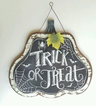 Seasons by Nicole Halloween Plaque 3D  Pumpkin  Rustic Spiderweb Sign Black - £8.75 GBP