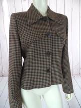 Linda Allard Ellen Tracy Blazer 6 Wool Cotton Blend Cranberry Taupe Zigzag NEW! - $58.41