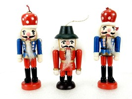Lot of 3 Miniature Real Nutcracker Ornaments, Soldier Figurines w/Workin... - $14.65