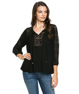 BLACK BLOUSE TOP FOR LADIES NEW SIZE MED LACE FRONT WITH TIE FRONT - $23.75