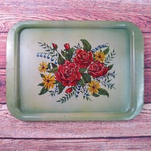 Vintage MCM Metal Lap Serving Tray TV Tray Green Floral Roses 17.5 x 12.5 - $19.99
