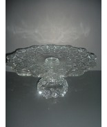 Westmoreland Glass Old Quilt Pattern Cake Stand Salver Plate - $104.99