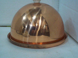 Vintage Fred Roberts Co. Solid Copper Domed Serving Dish with Porcelain ... - $14.80