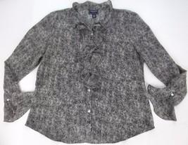 Chaps Blouse Top XL Black White Ruffle Long Sleeve Chiffon - $18.99