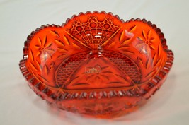 """Rare Viking Glass Persimmon Yesteryear Daisy Dish With Tag  8 1/8"""" Top Diameter - $49.50"""