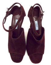 New PRADA Size 9 Burgundy Suede Open Toe Ankle Strap Heels Sandals Shoes 40 image 7