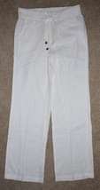 New Adrienne Vittadini Medium Linen Pants Tie Waist White Lightweight Co... - $18.69