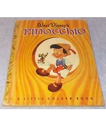 Little Golden Book Walt Disney's Pinocchio D-8 H Printing 1948 Carlo C... - $9.95