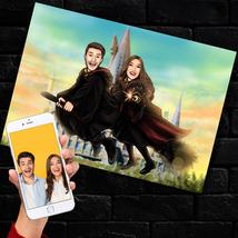 Custom Harry Potter Couple Caricature, Hogwarts Wizard Portrait, Digital... - $46.38+