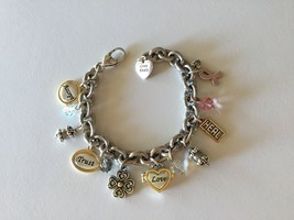 Brighton Power Of Pink Breast Cancer Awareness Charm Bracelet Silver Gold - $17.94