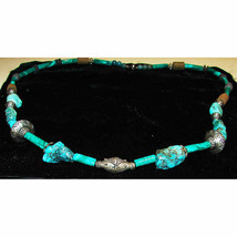 Tibetan Turquoise Malachite Sterling Silver Bead and Ceramic Bead Neckla... - $50.00