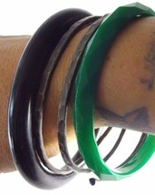 Vintage 3 Pcs Bangle Bracelets Black and Green Plastic + HANDMADE METAL ... - $12.24