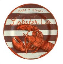 "East Coast Lobster Set of 4 Melamine Plates 10.25"" Dinner Plates NEW Bea... - $39.99"