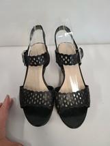 Franco Sarto Womens Wedge Sandals Size 9 Black Tan Open Toe Adjustable Buckle - $49.99