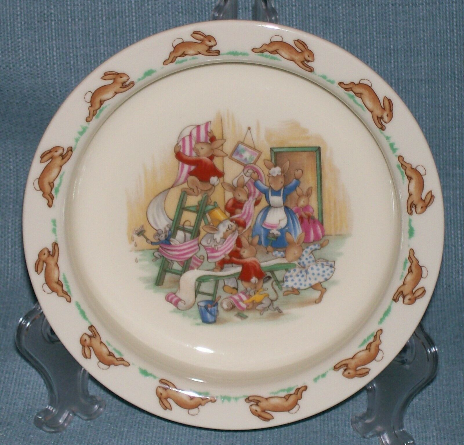 Royal Doulton Bunnykins- Baby Plate /Child's Bowl -Home Decorating Wallpaper EUC