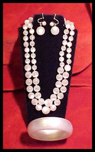 3 Piece Vintage White Thermoset Plastic Necklace Huge Bracelet Earring M... - $45.00