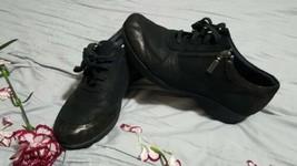 NEW Dansko Loretta Women Oxford Wedge Lace Up ZIP Sneaker Black Leather US 8 M  - $44.54