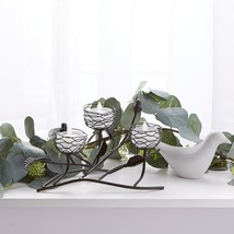 Tea Light Candle Holder Bird on Branches w. 3 Frosted Glass Candle Cups - $32.95