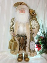 "XXL 27"" Christmas Santa Doll Prop Gold Shiny Silky Rich Outfit Faux Fur ... - $74.24"