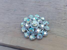 Vintage Brooch With Iridescent Bohemian Crystal Vintage Brooch Round Rhi... - $15.00