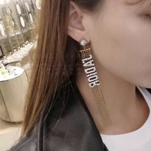 NEW AUTH Christian Dior 2019 J'ADIOR EARRINGS GOLD CRYSTAL DANGLE MULTI STRAND image 12