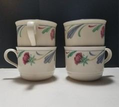Lenox Chinastone Poppies On Blue Flat Cup Lot Of 4 Usa 8 Oz - $18.69