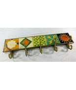 Vintage Painted Tile and Brass Handmade Coat Robe Towel Holder Rack 5-Hook  - $49.45