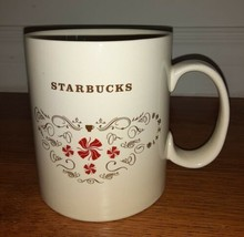 Starbucks Christmas Coffee Mug 18oz Beige and Red Candy Swirls - $6.99