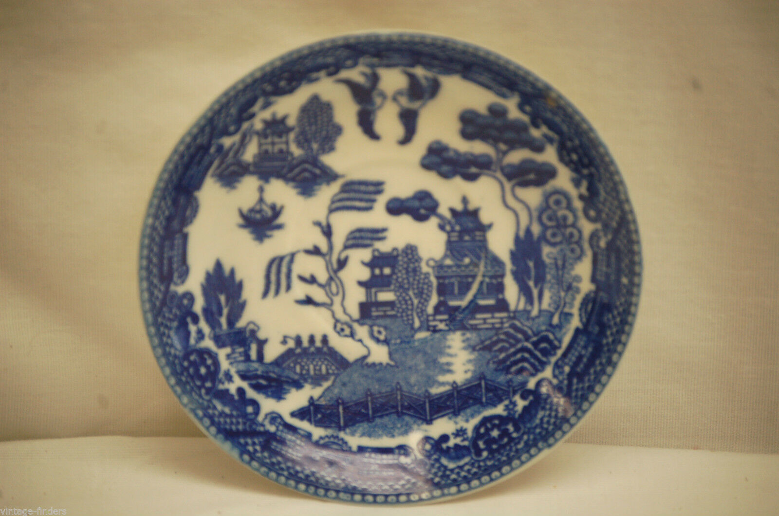 "Old Vintage Blue Willow Pattern 4-1/2"" Saucer Oriental Scene ~ Japan - $8.90"
