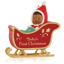 Baby's First Christmas 2015 Hallmark Ornament African American Baby Slei... - $8.80