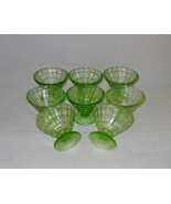 Anchor Hocking Block Optic Green Depression Glass Champagnes or Sherbets... - $32.00
