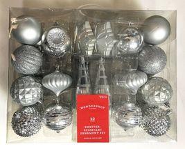 40ct Silver Shatter Proof Resistant Christmas Tree Ornament Set Wondershop NEW image 3