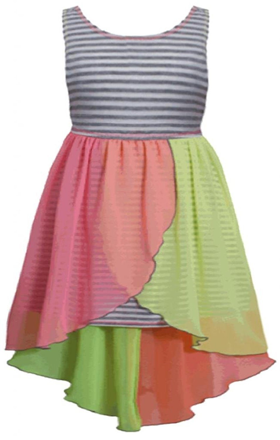 Little Girls 2T-6X Grey Stripe Knit to Colorblock Chiffon High-Low Dress (3T)