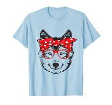 Dog Fashion - Funny Cute Husky Dog Mom Wears Bandana & Glass Gift Shirt Men - $19.95+