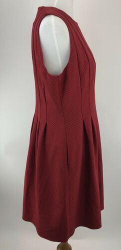 Anne Klein Women Dress 14 Red Vertical Seamed Printed Crepe Fit and Flare A19-02