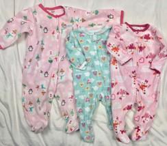 Carters Fleece Blanket Sleeper Pajamas Lot Baby Girls 6 Months / 9 Months - $27.56