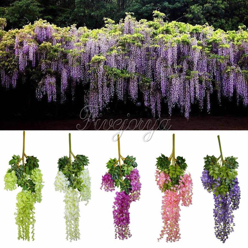 Artificial hanging flower silk wisteria plants fake flower decorative flower wreaths for wedding