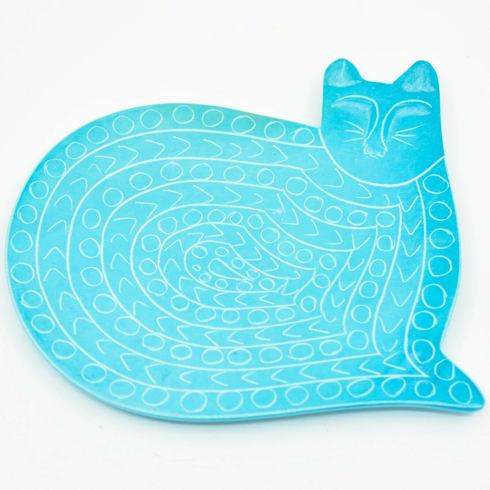 Vaneal Group Hand Carved Kisii Soapstone Light Blue Kitten Cat Trinket Catchall