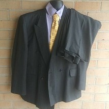 Town Craft Pin Striped Wool Suit Mens double breasted Jacket 44R Pant 3... - $54.45