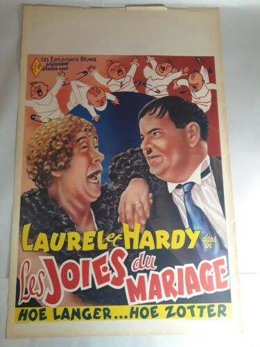 "Primary image for Vintage Original Laurel & Hardy Poster  22""×14"" Excellent Cond."