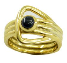 charming Black Onyx Gold Plated Black Ring jaipur US 6,7,8,9 - $7.04
