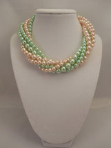Multi Strand Choker Style Necklace with Blush Peach & Mint Green Glass Pearls image 2