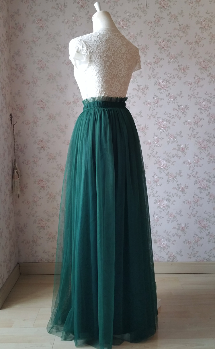 Green wedding tulle skirt 58 elastic 4