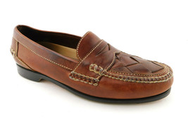 JOHNSON & MURPHY Size 10.5 Brown Woven Leather Loafers Shoes 10 1/2 - $59.00