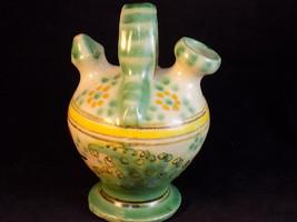 Toledo Double Neck Tea Pitcher Vase Hand Painted Glazed Ceramic Vessel - $9.89