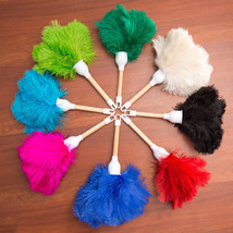 Five (5) Children's Ostrich Feather Dusters Plain Wood Handle 250MM Overall - $34.65