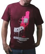 Im König Herren Weinrot oder Weiss Big Bang Melting Revolver Pistole T-Shirt USA