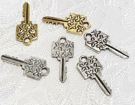 KEY w/ FLOWER DESIGN FINE PEWTER PENDANT CHARM 8.5mm L x 20mm W x 1mm D